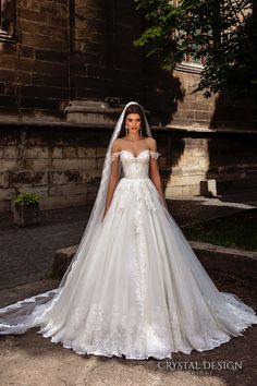 crystal design bridal 2016 off the shoulder sweetheart neckline bustier heavily embellished bodice princess a line ball gown wedding dress…