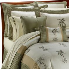 Shop for palm tree bedding set at Bed Bath & Beyond. Buy top selling products like Wildkin Dinosaur Land Full Bedding Set in Blue and Panama Jack® Breezy Palms Reversible Comforter Set in Aqua. Bedroom With Bath, Master Bedroom Design, Dream Bedroom, Modern Bedroom, Bedroom Decor, Bedroom Ideas, Beach Bedrooms, Bedding Decor, Bath Room