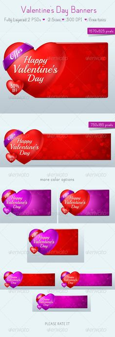 Valentine's Day Banners  #GraphicRiver         Detailed work on web banners  	 Fully Layered 2PSDs  	 color options  	 font name:  	 Ballpark  	 Bebas Neue   .dafont  	 ..............................................................  	 font name:  	 Playball   .google /webfonts 	 Please Rate it!     Created: 16January13 GraphicsFilesIncluded: PhotoshopPSD HighResolution: Yes Layered: Yes MinimumAdobeCSVersion: CS PixelDimensions: 1570x825 Tags: SaleBanner #ads #banner #graphic #offer #sale…