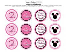 Minnie Mouse Printable Stickers - ordered this template with all Minnie Ears.  Sent to my local sign shop and had them make stickers FOR me!  So much easier than trying to make them myself, and completely affordable.