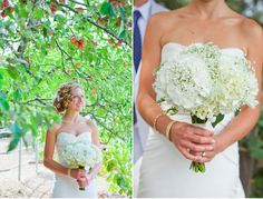 All white hydrangea and baby's breath bouquet #bridal #flowers #floral