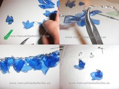 many ideas for recycled accessories Plastic Bottle Crafts, Plastic Jewelry, Plastic Bottles, Recycled Jewelry, Recycled Crafts, Soda Bottle Crafts, Bottle Jewelry, Plastic Flowers, Pet Bottle