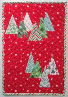 "Christmas Tree Farm mini quilt, 12 x 18"", tutorial by Debbie Grifka at Esch House Quilts. Featured at Quilt Inspiration: Free pattern day: Christmas part 1"