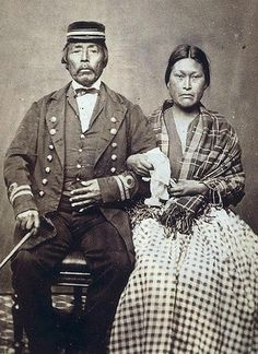 CAPTAIN JACK, KWAKIUTL CHIEF OF THE RUPERT INDIANS,  AND HIS WIFE, CIRCA 1868, BY HANNAH MAYNARD