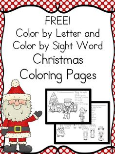 Preschool or Kindergarten Activity:   Worksheets for Kids: Christmas coloring - Fun for kids - these color by letter/sight word sheets are perfect for preschool or kindergarten.