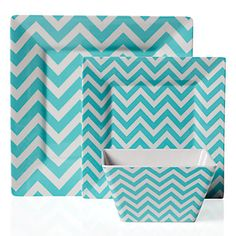 Zig Zag melamine dinnerware in cool Aqua and White chevron, $29.80