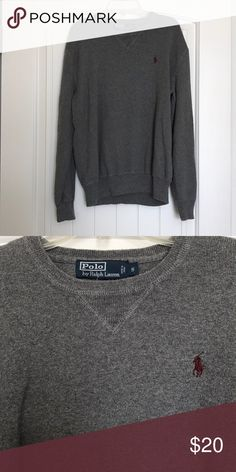 Polo by Ralph Lauren Sweater Polo by Ralph Lauren crew neck sweater. Grey with burgundy logo. Gently worn. In great condition. Polo by Ralph Lauren Sweaters Crewneck
