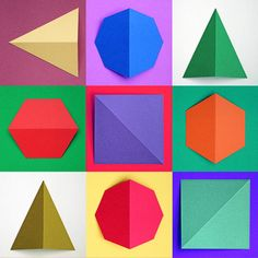 Geometric paper shapes cut and folded - yum #paper #natstatweek #colour