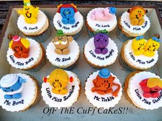 Mr Men & Little Miss! Cake by OfF ThE CuFf CaKeS! Mr Men and Little Miss cakes party kids boys girls birthday cupcake popcake cookies Cupcakes For Men, Cupcakes Design, Kid Cupcakes, Baking Cupcakes, Cupcake Cakes, Cup Cakes, Cupcake Recipes, Birthday Cakes For Men, Girl Birthday Cupcakes