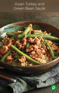 Asian Turkey and Green Bean Sauté - Publix Aprons Recipes Turkey Dishes, Turkey Recipes, Paleo Recipes, Asian Recipes, New Recipes, Dinner Recipes, Cooking Recipes, Favorite Recipes, Skillet Recipes