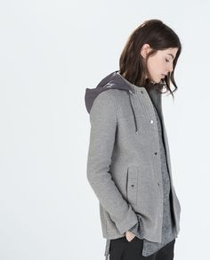 JACKET WITH CONTRAST HOOD-Jackets-Outerwear-WOMAN | ZARA United States