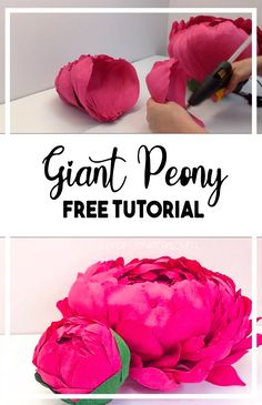 Crepe Paper Flowers Tutorial, Paper Flowers Craft, Paper Roses, Flower Crafts, Giant Flowers, Diy Flowers, Diy Paper, Paper Crafts, Flower Petal Template