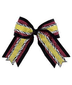 #wishpinwin #campusteamwear    LOVE, LOVE, LOVE this zebra, maroon/gold bow. It's perfect for my high school cheer team!