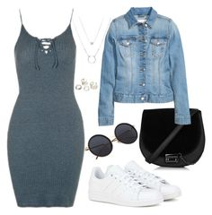 """Sem título #2572"" by beatrizvilar ❤ liked on Polyvore featuring Topshop, adidas and H&M"
