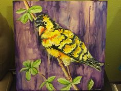 "18"" x 18"" acrylic on canvas Iowa State bird purple wash sabelart@yahoo.com $30"