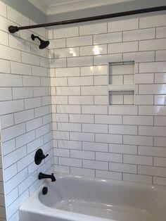 Gray and White Subway Tile. Gray and White Subway Tile. White Subway Tile W Gray Grout Love the Alternating Mixed Grey Grout Bathroom, Diy Bathroom, Bathroom Renos, Bathroom Layout, Bathroom Renovations, Bathroom Interior, Modern Bathroom, Master Bathroom, Bathroom Hardware