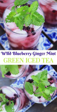 Sip this healthy & refreshing non-alcoholic Wild Blueberry Ginger Mint Green Iced Tea all Summer long! It's a hydrating post workout drink to cool off with, or a delicious mocktail to serve at your next BBQ, Memorial Day Party, Bridal Shower, Graduation, or 4th of July. | Recipe at EA Stewart, The Spicy RD