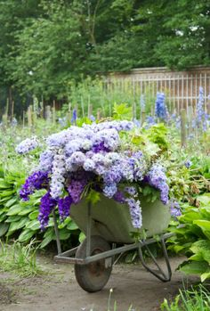 Would love an old wheel barrel with overflowing flowers planted in it!