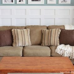 """We bought our couch at Ashely Furniture almost 6 years ago. I still really like couch, but a couple months ago I couldn't help but notice it was looking a little tired. It was suffering from something I like to call """"Saggy Sofa Syndrome."""" Not wanting to s Diy Couch, Couch Cushions, Couch Slipcover, Toss Pillows, Slipcovers, Canapé Diy, Dyi, Floor To Ceiling Curtains, Couch Makeover"""