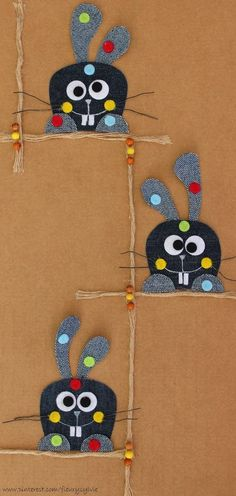 La bande des Lapins-Pas-Du-Tout-Crétins ! #jeans #recycle http://pinterest.com/fleurysylvie/mes-creas-la-collec/ et www.toutpetitrien.ch