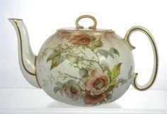 Antique c1886 Royal Doulton Porcelain Teapot Blush Glaze Pat C1495 Excellent