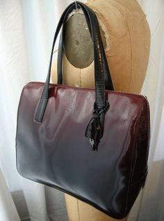 PRADA Spazzolato Leather Ombre Burgundy to Black Hand Bag 1997