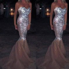 Champagne Mermaid Sweet Heart Sparkly Long Prom Dresses, PM0052