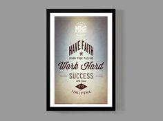 Motivational Print - Have faith, Learn from failure, Work hard, Success will come after persistence - Typographic Quote Poster on Etsy, $18.00