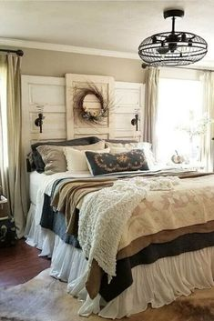 Give your bedroom a makeover with this upcycled thrift store vintage doors turned headboard DIY project. This beautiful and creative headboard will make your bedroom cozy and fun to be in. #hometalk Living Room Decor, Bedroom Decor, Cozy Bedroom, Bedroom Ideas, Master Bedroom, Wall Decor, Glazing Furniture, Furniture Ideas, Farmhouse Bedroom Set