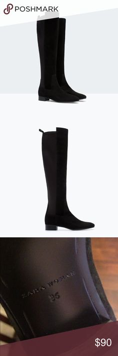 ZARA STRETCH LEATHER BOOTS 6 36 Best autumn boots! A tad too small for me 😑so I have to let them go. Like new condition, used once. Gorgeous and sold out everywhere so don't wait 🍂🍁🌻 treat yourself to some lovely autumnal boots this year! Zara Shoes Over the Knee Boots