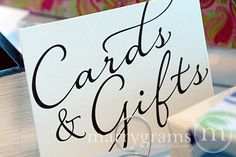 Cards & Gifts Sign - Gift Table Signage - Wedding Reception Elegant Signs - Matching Table Numbers SS03