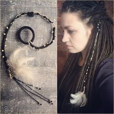Hair wrap with feathers and black agate. Check out my Etsy store to see more. Link in bio  # dreadwrap #hairwraps  # hairelastics  #dreadlockjewelry  #dreadlockaccessories  #dreadaccessories #dreadlockstyle #dreadjewelry #handmade #Prorety  Made by: https://www.etsy.com/shop/Prorety