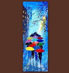 Originele Abstract schilderen acryl - regenachtige avond met paraplus - regen boslandschap - kleurrijke abstracte Paletmes - Ready To Hang Grootte: 31,5 x 12 (80 x 30 cm) Voor extra maten, neem contact met mij op! VERGELIJKBARE SCHILDERIJEN: