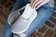 This might seem odd, but use panty liners to absorb sweat and odor in shoes.