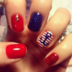 Nautical nails red White blue anchor sailor navy glitter studs accent gel polish  - check me out at ig: nailsgonewild_kv fb: Nails Gone Wild