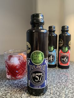No. 57 Highland gin negroni with the other gin bottles in the background Scottish Gin, What Katie Did, Gin Tasting, Gin Gifts, Gin Recipes, London Dry, Gin Lovers, Kaffir Lime, Gin Bottles