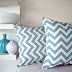 ESCAPE TO PARADISE: NEW Products..these blue chevron pillows are great