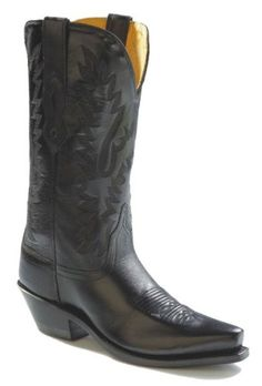 """$119.95-$139.95 Old West Ladies Leather Fashion Cowgirl Boots - Black - These Black Old West Ladies Cowgirl boot have full leather linings, and reinforced shanks. The 12"""" shaft has a 6-row fancy stitch, hand corded medallion. A snip toe with leather outsole completes the look! The comfort cushion insole is leather. This is the perfect pair of boots for you! This pair of boots will make your outfit ..."""