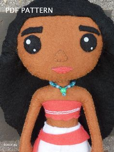 PDF pattern to make a doll inspired in Moana Vaiana