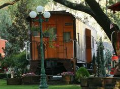 Stay in an actual vintage train caboose!  The Featherbed Railroad Bed & Breakfast is located in Nice, California.  #vacation #travel #train