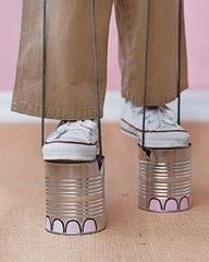 Ways For Kids to Use Up Energy Without Leaving the House Elephant Feet- I forgot about tin can stilts! They were my favorite growing up!Elephant Feet- I forgot about tin can stilts! They were my favorite growing up! Tin Can Crafts, Crafts To Do, Crafts For Kids, Easy Crafts, Projects For Kids, Diy For Kids, Cool Kids, Martha Stewart Crafts, Safari Party