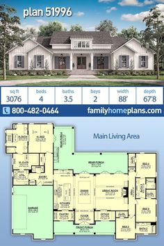 Country Style House Plan Number 51996 with 4 Bed, 4 Bath, 2 Car Garage NEW Moder. Country Style House Plan Number 51996 with 4 Bed, 4 Bath, 2 Car Garage NEW Modern Farmhouse by Award Winning Archite Family House Plans, Country Style House Plans, New House Plans, Dream House Plans, Dream Houses, 5 Bedroom House Plans, House Plans One Story, Ranch House Plans, House Design Plans