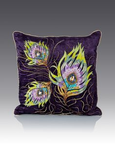 "Handcrafted pillow. Cotton/polyester velvet. Embroidered with silk threads. Embellished with Swarovski crystals and beads. Signature dragonfly zipper pull. 20""Sq. Imported of domestic materials."