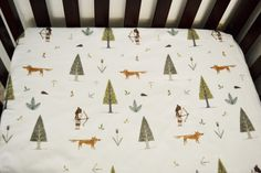 Crib Sheet  Forest Friends Woodland Theme by SleepingLakeDesigns