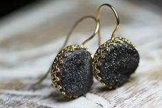 NonnaSoul Golden earrings with black druzy quartz - Earrings - Jewelry