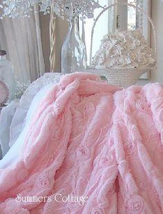 pink fur satin ribbon ruffle roses throw.....luxury