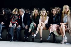 Kendall Jenner, Anna Wintour, Sir Philip Green, Kate Moss, Lottie Moss, Natalie Massenet and Poppy Delevingne taking over the front row at Topshop Unique. #LFW #TopshopUnique