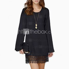 Women's Casual Micro-elastic Long Sleeve Above Knee Dress - USD $ 9.99 This would be great with tights.