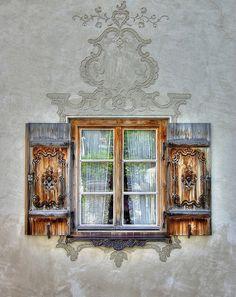 Bavarian Window I want shutters like this on my log home :) Ventana Windows, Painting Shutters, Window View, Window Art, Open Window, Window Dressings, Through The Window, Old Doors, Beautiful Buildings