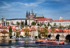 Prague Castle with famous Charles Bridge in Czech Republic - Stock Photo , Dream Photography, Travel Photography, Prague Castle, Fairytale Castle, Paris City, Road Trip Usa, Travel Aesthetic, Months In A Year, Czech Republic